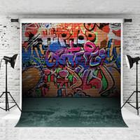 Мечта 5x7ft Красочный граффити кирпичная стена Backdrop Hiphop искусство Фотография Фон для детей Портрет Фото Зеленый Пол Backdrop Студия Prop