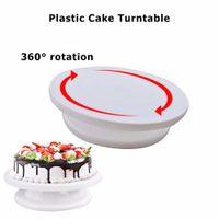 27см пластиковый торт поворотный стол вращающийся торт пластиковый нож тесто украшения поворотный стол противоскользящие круглый торт стенд торты поворотный стол