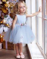 볼 가운 블루 얇은 명주 그물 짧은 꽃 아기 소녀 파티 드레스 2019 새로운 여자 아기 세례 가운 세례 드레스