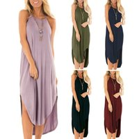 Plus Size Dress Women Summer Solid Maxi Dresses Sexy Spaghet...