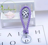 knobspin 20 couleurs en cuir PU tressé corde tissée bts porte-clés sac bricolage pendentif porte-clés porte-clés de voiture hommes femmes porte-clés