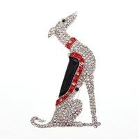 100pcs / lot de plata joyería de moda tono galgo Scotty Borzoi perro de perro cachorro canino Rhinestone Broche broche animal