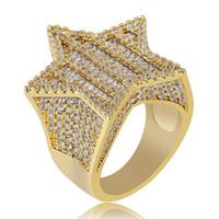 Oro blanco de 18 quilates de oro para hombre de lujo Bling Cubic Zirconia Pentagram Hip Hop Ring Band Diamante completo Iced Out Rapper Jewelry Regalos para novio