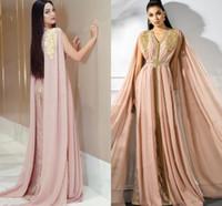 Румяна Мусульманские Вечерние платья с мысом шифоновых аппликациями из бисера марокканского Кафтана исламской Дубай Saudi Arabic Лонг выпускного платьем