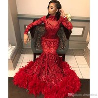 Red Mermaid Prom Dresses 2019 New Long Sleeve Floor Length S...