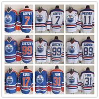 CCM homens costurados EDMONTON OILERS 99 GRETZKY 11MESSIER 17 KURRI 7 COFFEY 30 RANFORD 31 FUHR Branco Azul Vintage CCM Hóquei No Gelo Jerseys