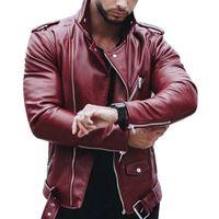 Erkek Deri Sonbahar Kış Casual Fermuar PU Deri Ceket Kırmızı Siyah Artı boyutu Motosiklet Sahte Ceket Erkekler Slim Fit Streetwear