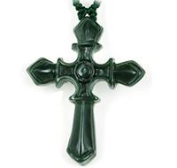 천연 녹색 비취 손으로 새겨진 기독교 십자가 목걸이 펜던트 여성 망 보석 보석 선물 도매