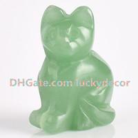 """10Pcs Hand geschnitzte Edelstein Crystal Cat Totem natürliche grüne Aventurin Fortune Lucky Cat Figur 1,5 """"/ 2"""" kleine Jade Edelstein Katze Skulptur"""
