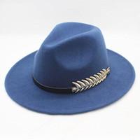 SUOGRY Fieltro Hoja Hombres Fedora Sombreros con Cinturón Vintage Lana  Trilby Fedora Warm Jazz Hat Chapeau Femme feutre Panaman hat D19011102 c58656b320f3