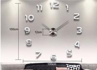 홈 장식 큰 번호 거울 벽 시계 현대적인 디자인의 큰 벽 시계 3D 시계 벽 유일한 선물