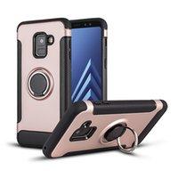 Caja del teléfono de todo incluido de fibra de carbono magnética del anillo del soporte de caja del teléfono móvil para: Samsung A6 A7 A8 A50 M20 VIVO X7 X9 X21 PLUS