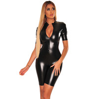 Schwarz Pu-leder Sexy Kurzer Overall für Frauen Tiefem V-ausschnitt Kurzarm Bodycon Overall Lässig Frontreißverschluss Einteiliger Body