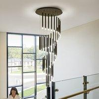 Principali moderne lampadario minimalista atmosfera moda piano duplex salone Nordic appartamento Villa lampada Scala a chiocciola lungo impiccagione
