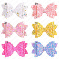 Gradient Glitter bowknot épingles à chignons Bows filles Glitter cheveux Barrettes Princesse enfants Bow clip Accessoires pour fille Hairs cadeau E5405