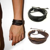 La moda masculina de cuero pulseras brazaletes para los hombres Negro Marrón cuerda trenzada de pulsera pulseras con cordones de los hombres Circlet joyas regalos ajustables
