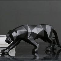 النمر تمثال الحيوان تمثال كبير الحجم مجردة نمط هندسي الراتنج ليوبارد النحت المنزل مكتب الديكور هدية T200624