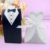 Stokta 50 Pairs Düğün Şeker Kutusu Gelin Damat Düğün Gelin Favor Sahipleri En Iyi Hediye Kutuları