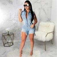 2019 moda verão playsuits casuais jeans jumpsuit shorts mulheres hem irregular desenho de bagagem sexy denim bodysuit mulheres curtas romper streetwear