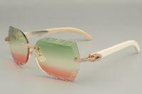 19 anos de novos óculos de sol de canto branco natural, 8300593-B, óculos de sol com lentes gravadas com diamantes personalizados, tamanho: 58-18-140mm óculos de sol,