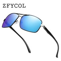 ZFYCOL Square Sunglasses Men Polarized Alloy Frame Mirror Le...