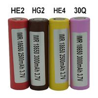 100٪ أعلى جودة لشركة إل جي HE2 HE4 HG2 30Q 18650 بطارية 2500 3000 مللي أمبير 3.7 فولت 18650 بطاريات قابلة للشحن فيديكس ups شحن مجاني