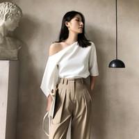 Donne sexy camicetta bianca 2020 estate una spalla a metà manica camicia allentata top shirt camicette Blusas