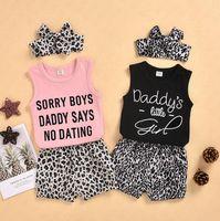 3 шт. Детские девочки летние шорты набор с волосами для волос головной лент Wrap Cousssuit младенцев малышей леопардовый шорты спортивный повседневный костюм D62312