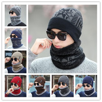 Winter Men Hat Scarf Set Knitted Hat With Mask Hood Beanies ...
