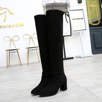 2018 شتاء جديد على الركبة الأحذية النسائية وأشار مريح مثير النساء أزياء طويلة أحذية السيدات الأحذية الدافئة موهير c75
