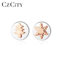 CZCITY Brush Solid 925 Sterling Silver Tree Stud Earrings fo...