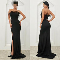 Mermaid Black Formal Evening Dresses Sexy High Split Straple...