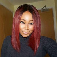 Women Medium Short Straight Synthetic Wigs Natural Black Omb...