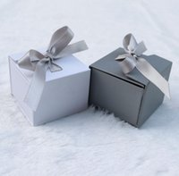 보석 상자 종이 회색 흰색 컬러 리본 선물에 대 한 Bowknot 선물 링 귀걸이 포장 디스플레이 5 * 5 * 4cm