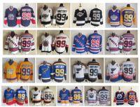 빈티지 99 Wayne Gretzky 저지 로스 앤젤레스 킹스 Edmonton Oliers 세인트 루이 블루스 뉴욕 레인저스 CCM 레트로 하키 유니폼 크기 48-56
