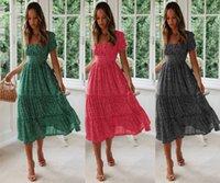 여름 드레스 유럽과 미국의 패션 드레스 폭발 평방 칼라 거품 소매 꽃 무늬 드레스 2020 새로운 핫 판매