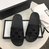 Мужские резиновые скользящие сандалии дизайнеры слайды Высококачественные причинные нескользванные слайды лето Huaraches Flip Plops тапочки с коробкой размером 5-11