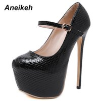 Aneikeh 2019 Mode PU Pumpt Frauen Runde Kappe Flache Slip-On Schnalle Frauen Dünne High Heels Party Büro Schwarz Plattform 40