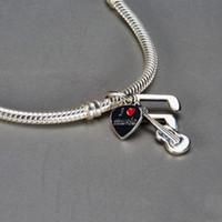 Müzik Not Charms Boncuk S925 Ayar Gümüş Bilezikler için Uygun LW567