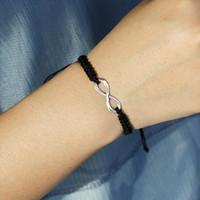 Número Moda hecha a mano 8 encantos pulsera para las mujeres Ajuste plateado plata del símbolo del infinito pulseras Negro Blanco cuerda trenzada regalo Jewerly
