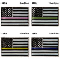 미국 경찰청 파란 사물 얇은 파란색 선 배지 파란 선 옷깃 핀