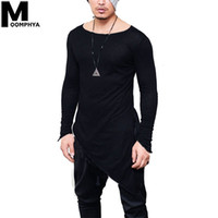 Moomphya 2019 New Irregular Longline hem long sleeve men t s...
