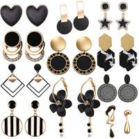 Kadınlar Takı Çiçek Basit Brincos Yeni Moda Benzersiz Siyah Damla Küpe Kalp Crystal Star Aşk Geometrik Küpe