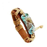 Imprensa Charme verão na moda Unisex Couro Brown Pulseiras Cor Borboleta Flor Paz calor Enrole punho do bracelete