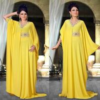Arabski Dubai Abaya Kaftan Robe de soirée V ecc Crystal Crystal Perlé Robe de bal Formelle Jaune Mousseline Saudi Arabe Soirée Robes de soirée