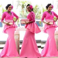 겸손한 나이지리아 인어 이브닝 드레스 V 넥 새틴 Peplum 댄스 파티 드레스 남아프리카 선발 대회 드레스 파티 정장 슬리브 블랙 소녀 행사
