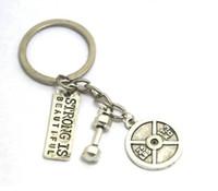الفضة القديمة قوية جميلة رسالة 25LBS 11.3KG الدمبل سحر قلادة سلسلة المفاتيح كيرينغ الرجال النساء مصمم مجوهرات سلسلة المفاتيح أفضل هدية