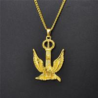 Оптовая Hip Hop Mens Gold Eagle ожерелье мужчин ювелирные изделия нового способа конструктора кубинский звено цепи Панк ожерелья Для Mens женщин Подарки