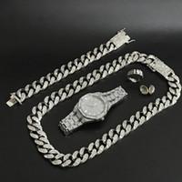 Homens relógio de prata hip hop homens assistir colar braclete anel brincos Combo conjunto de hip hop cubano para