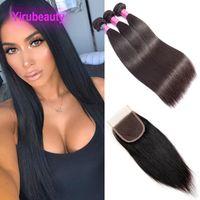 Brasilianische Jungfrau-Haarerweiterungen 3 Bündel mit 4x4-Spitzenverschluss Gerade günstige Haarschöpfungen mit Spitzenverschluss 8-30 Zoll